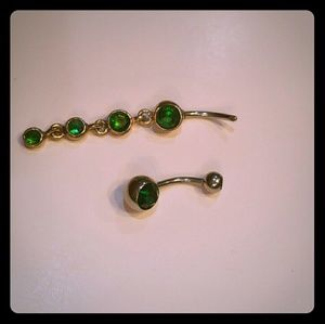 Jewelry - Green Navel Ring Set (2)